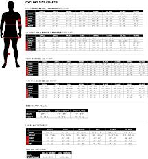 Custom Size Chart Cycling Apparel Size Charts Podiumwear