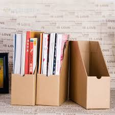 Magazine Holder Cardboard 100pcs Kraft Paper File Magazine Holder Desk Stationery Organizer 34