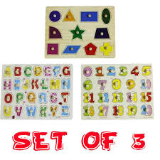 wooden alphabet numbers and shapes set of 3 peg puzzle baby toddler preschool kids