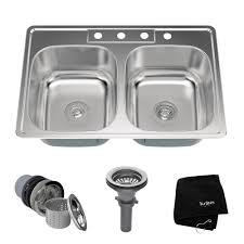 kraus 33 inch topmount 50 50 double bowl 18 gauge stainless steel kitchen sink with noisedefend soundproofing com