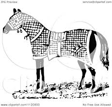 blanket clipart black and white. clipart of a retro vintage black and white horse in blanket - royalty free vector illustration by prawny