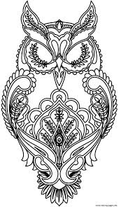 Adult Difficult Owl Coloring Pages Printable