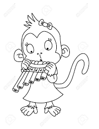 Cute Monkey With Pan Flute Coloring Page Stock Photo Picture And
