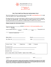 Fillable Online One Time Credit Card Payment Authorization Form