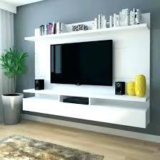 floating shelf under tv w compact unit black white