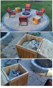 diy firepit storage tables one holds the propane gas tank for the firepit the other holds the outdoor covers for the chairs built from ana white
