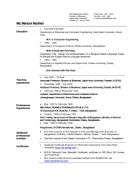 Sample Resume Format For Lecturer In Computer Science Fresher