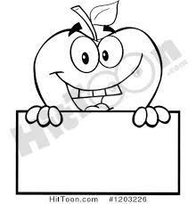 apple clipart black and white. black and white apple character holding a sign 3 #1203226 clipart