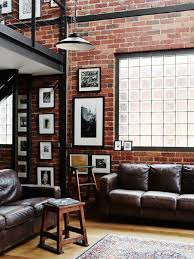dark brown leather couches. Extraordinary Industrial Living Room Rustic Furniture Ideas Brick Wall Dark Brown Leather Couch Wooden Stool Black Pendant Lamp Couches
