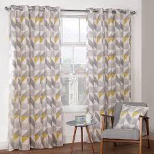Lined Bedroom Curtains Delta Grey Yellow Luxury Lined Eyelet Curtains Pair Julian