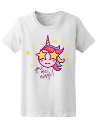 Cute T Shirt Design Ideas Cute Unicorn You Are Magic Womens Tee Image By Shutterstock Novelty Cool Tops Men Short Sleeve Tshirt Free Shipping