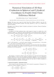 pdf numerical simulation of 1d heat conduction in spherical and cylindrical coordinates by fourth order finite difference method