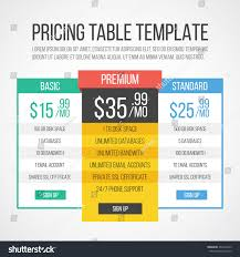Graphic Design Courses Price Pricing Table Template Creative Graphic Design Stock Vector