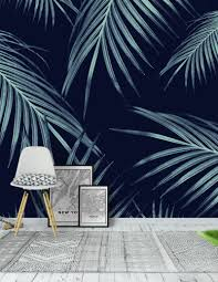 Navy Blue Palm Leaves Dream 1 Wallpaper ...