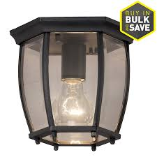 portfolio 7 68 in w matte black outdoor flush mount light