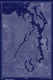 Puget Sound Washington State Nautical Chart Map 1956 Dark
