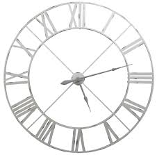 large pale grey distressed contemporary skeleton metal wall clock designer clocks