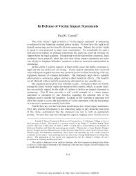 Victim Statement In Defense of Victim Impact Statements PDF Download Available 1
