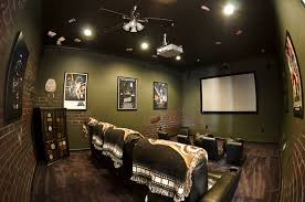 movie room lighting. Luxurious Home Movie Theater Rooms : Lovely Room With Soft Green Brick Wallpaper Lighting