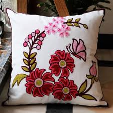 Pillow Case Hand Embroidery Designs Flowers Cotton Handmade Embroidered Cushion Cover Decorative