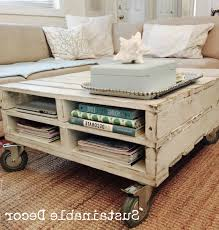 Pallet Coffee Table With One DrawerPallet Coffee Table On Wheels