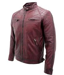 mens destressed burdy café racer leather jacket