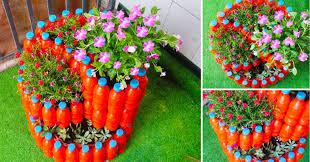 diy spiral garden from plastic bottles