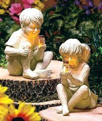 solar garden statues light fireflies girl statue holding glass jar outdoor yard decor with dancing ornaments outdoor lawn ornaments