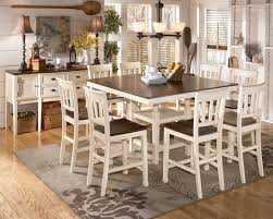 Whitesburg 9Piece Square Counter Height Extension Table Set in Brown   White by Dining Rooms Outlet