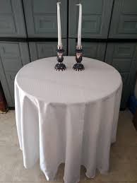 banquet wedding white round fabric polyester tablecloth 120 inch 1 of 1free