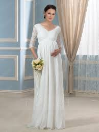 charming v neck half sleeves lace a line maternity wedding dress
