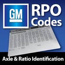 Gm Rpo Codes Axle Ratio Identification West Coast