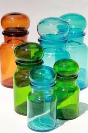 vintage colored glass bottles kitchen canisters mod airtight seal antique coloured