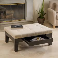 Renate Coffee Table Ottoman Beige Linen Storage Tufted Ottoman Seat Coffee Table Furniture