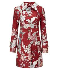 joe browns women s fitted red pea coat with tapestry detailing