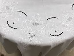 round cotton table cloth with embroidery france circa 1900