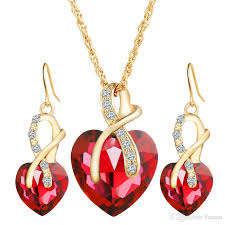 2019 wholes jewelry sets swarovski choker earrings sets gold chain alloy dangles resin crystal necklaces heart pendants chandelier from ficoco
