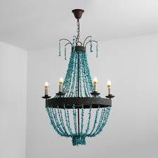 vintage style turquoise bead strands rust metal frame 5 light 6 light large chandelier