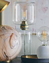 Double Clear Glass Shade Table Lamp Brass