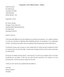 2 Week Notice Letter For Work Letter Giving Notice At Work Template Sample Resignation 4