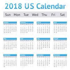 2018 Us American English Calendar A Week Starts On Sunday Stock
