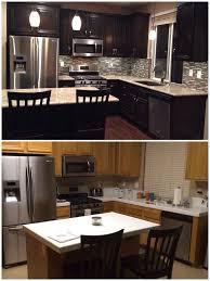 kitchen cabinets lighting ideas. upgraded kitchen espresso dark stained cabinets added hardware glass mosaic backsplash granite lighting ideas a