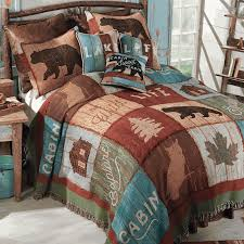 cabin style bedding.  Cabin Bear Lodge Tapestry Bedding Collection To Cabin Style Y