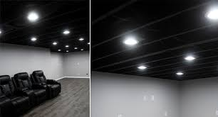 our painted basement ceiling black