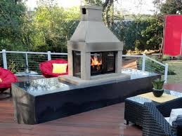 outdoor fireplace and deck
