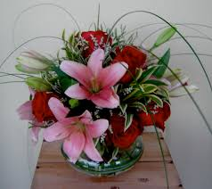 Fusion Floral Design Red Rose And Pink Lilly Bouquet 45 Fusion Floral Art