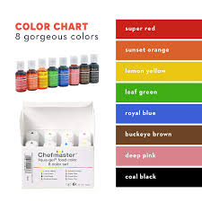 Food Coloring Chart Chefmaster Food Coloring Drops 8 Vibrant Cake Decorating Colors Easter Food Coloring For Cookies Bath Bomb Colorant Egg Dying Set Non Food Gel