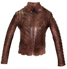 Designer Leather Biker Jackets Women Hand Crafted Multi Strips Washed Vintage Look With
