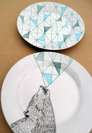 Creative Plate Designs Howling Wolf Geometric Design Plates Hand Illustrated