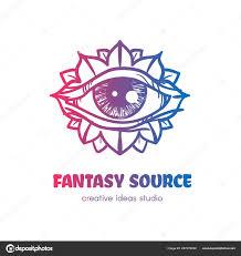 Eye Logo Design Ideas Stylized Eye With Flower Petals Vector Logo Design Stock